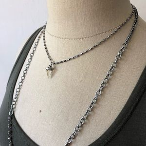 Marlyn Schiff Bead Crystal Pyramid Layer Necklace